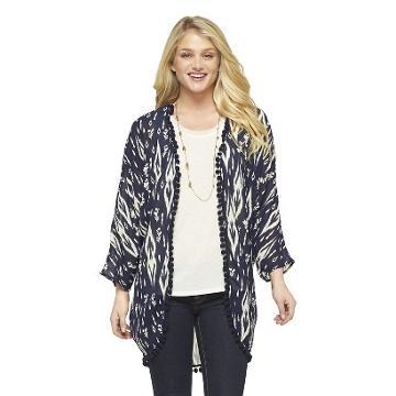 Pom Pom Kimono Jacket Navy - Xhilaration