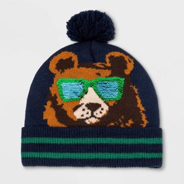 Boys' Bear Flip Sequin Beanie - Cat & Jack Navy, Blue