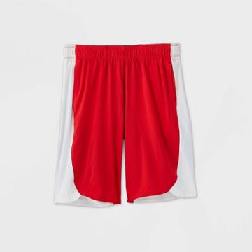 Boys' Color Block Stretch Woven Shorts - All In Motion Red