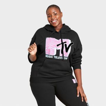 Women's Mtv Plus Size Pink Logo Hooded Graphic Sweatshirt - Black