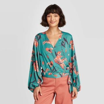 Women's Floral Print Balloon Long Sleeve Wrap Top - A New Day Blue