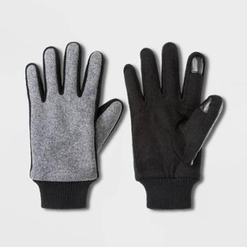 Men's Rib Knit Gloves - Goodfellow & Co Black/gray M, Men's,