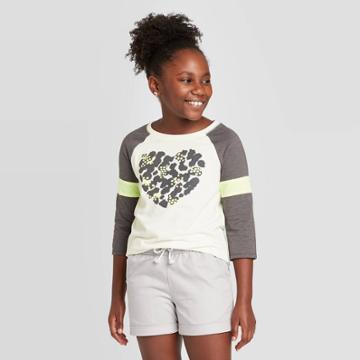 Girls' 3/4 Sleeve Heart Print Baseball T-shirt - Cat & Jack Cream Xs, Girl's, Blue