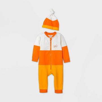 Baby Candy Corn Long Sleeve Romper Set With Hat - Cat & Jack Orange