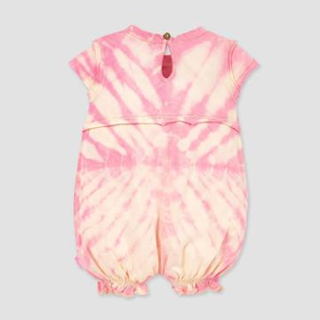 Burt's Bees Baby Baby Girls' Organic Cotton Peachy Tie-dye Bubble Romper - Cream 0-3m, Girl's, Pink