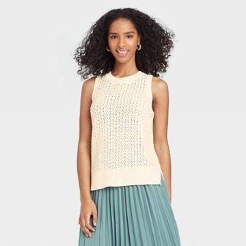 Women's Crewneck Sleeveless Tank Pullover Sweater - A New Day Cream