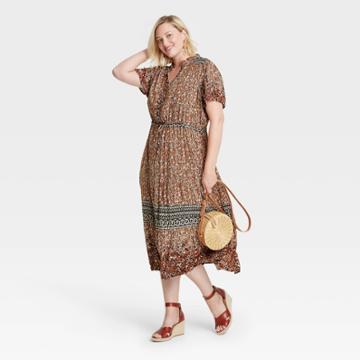 Women's Plus Size Short Sleeve Dress - Knox Rose 1x Orange Floral