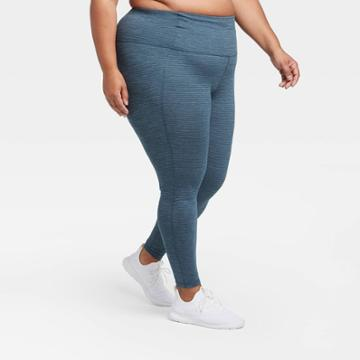 Women's Plus Size Contour Power Waist High-rise Textured 7/8 Leggings 24 - All In Motion Teal 1x, Women's, Size: