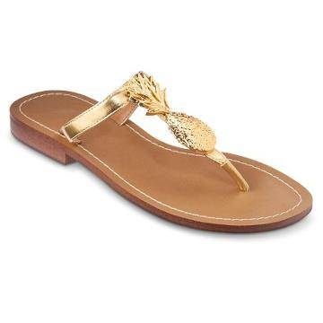 Lilly Pulitzer For Target Women's Gold Sandals - Pineapple