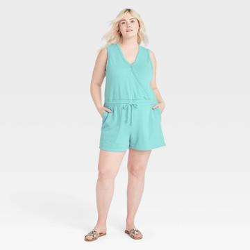 Women's Plus Size Sleeveless Romper - Universal Thread Turquoise