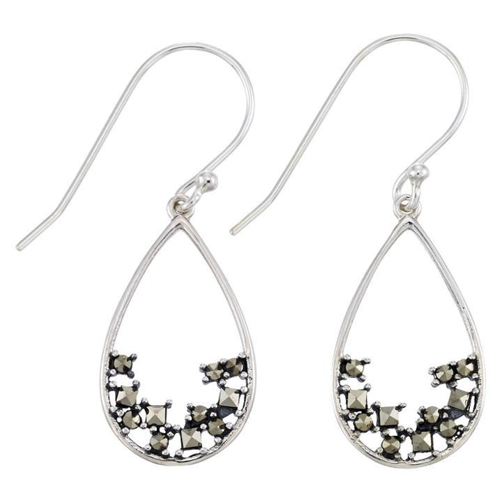 Target Marcasite Open Work Teardrop Wire Earrings-sterling Silver, Girl's,