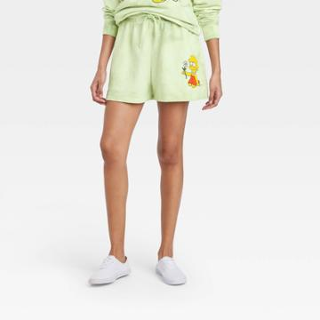 The Simpsons Women's Lisa Simpson Graphic Jogger Shorts - Green