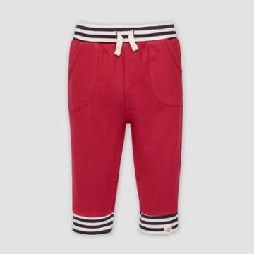 Burt's Bees Baby Baby Boys' French Terry Striped Cuff Organic Cotton Pull-on Pants - Red