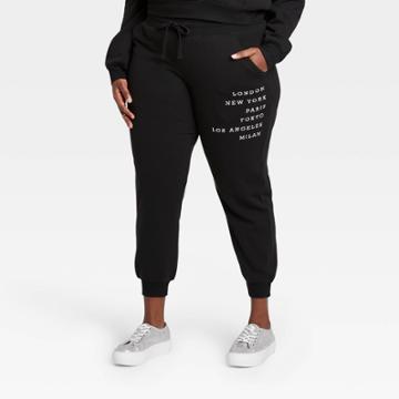 Zoe+liv Women's Plus Size Cities Graphic Jogger Pants - Black