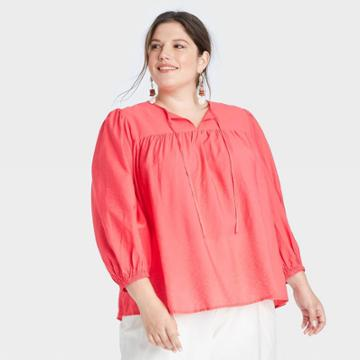 Women's Plus Size Long Sleeve Blouse - A New Day Red