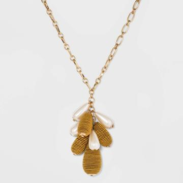 Wrapped And Simulated Pearl Beaded Cluster Pendant Necklace - A New Day Yellow, Women's