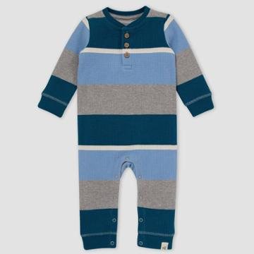 Burt's Bees Baby Baby Boys' Tipped Rugby Striped Thermal Jumpsuit -