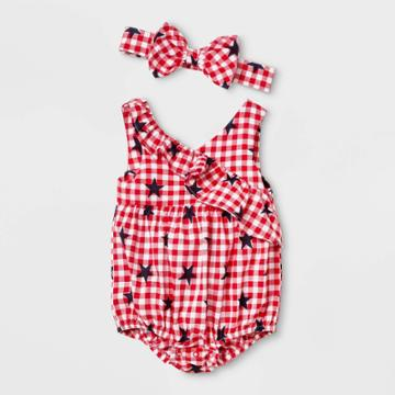Baby Girls' Gingham Star Print Ruffle Romper With Headband - Cat & Jack Red Newborn, Girl's