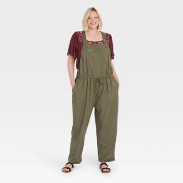Women's Plus Size Sleeveless Jumpsuit - Knox Rose Olive