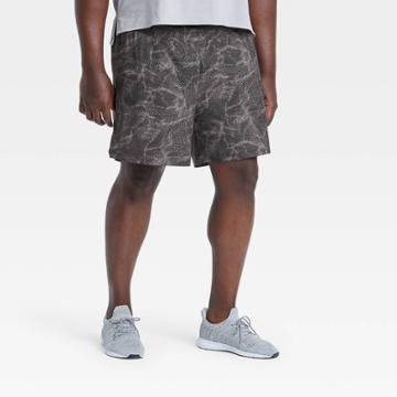 Men's Big & Tall Printed Any Sport Shorts - All In Motion Black/silver Xxxl
