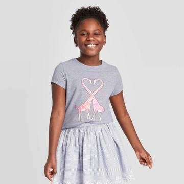 Petitegirls' Short Sleeve Giraffe Heart Graphic T-shirt - Cat & Jack Heather Gray S, Girl's,