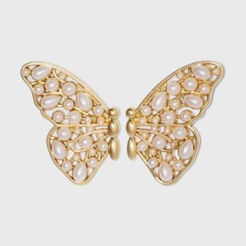 Sugarfix By Baublebar Pearl Butterfly Stud Earrings - Pearl, White