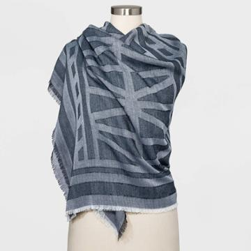 Women's Jacquared Large Square Scarf - Universal Thread Navy, Women's, Blue