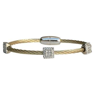 Zirconmania 3-piece Pave Square Cable Bracelet With Magnetic Clasp - Gold, Women's,