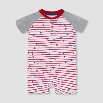 Burt's Bees Baby Boys' Stars And Striped Henley Romper - Red
