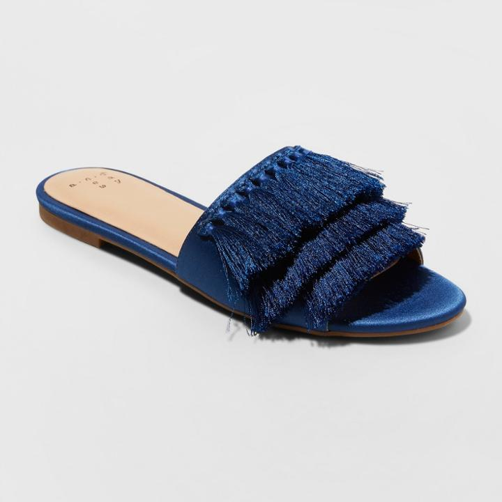 133f7dca3ebd Women s Benetta Wide Width Tassle Slide Sandals - A New Day Navy (blue) 5.5