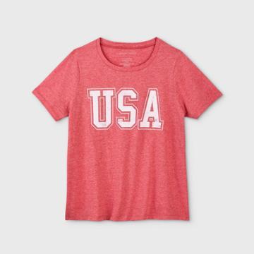 Women's Usa Plus Size Short Sleeve Graphic T-shirt - Grayson Threads (juniors') - Red