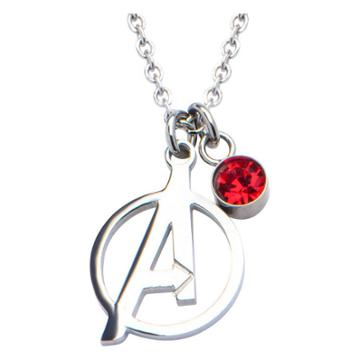 Women's Marvel Avengers A Logo Cutout Stainless Steel Pendant Necklace With Red Cz (18),