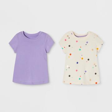 Toddler Girls' 2pk Short Sleeve T-shirt Set - Cat & Jack Purple/cream