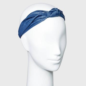 Solid Hammered Satin With Front Knot And Elastic Back Headwrap - A New Day Blue