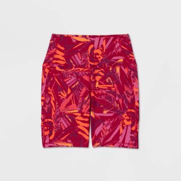 Women's Tropical Print Contour Curvy High-rise Bike Shorts 7 - All In Motion Brown