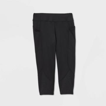 Girls' Laser Cut Capri Leggings With Pockets - All In Motion Black
