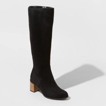 Women's Marlee Wide Calf Knee High Heeled Fashion Boots - Universal Thread Black