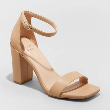 Women's Ema Square Toe Heels - A New Day Taupe