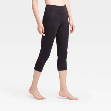 Women's Contour Power Waist Mid-rise Capri Leggings With Pocket 20 - All In Motion Black