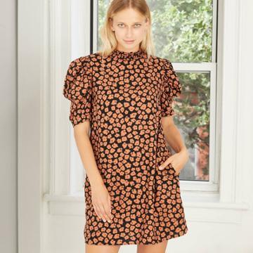 Women's Plus Size Floral Print Short Puff Sleeve Ruffle Detail Dress - Who What Wear Orange