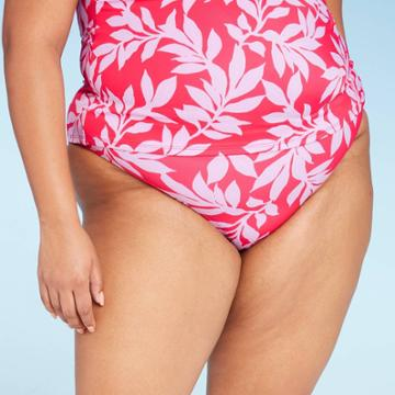 Women's Plus Size Full Coverage Bikini Bottom - All In Motion Red Floral