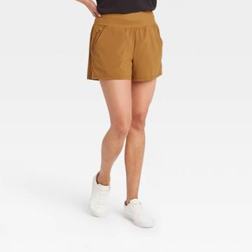 Women's Knit Waist Stretch Woven Shorts - All In Motion Toffee