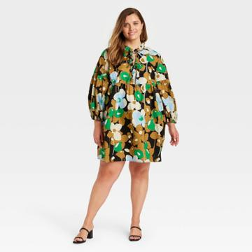 Women's Plus Size Puff Long Sleeve A-line Dress - Who What Wear Black Floral