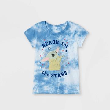 Girls' Star Wars Baby Yoda Short Sleeve Graphic T-shirt - Blue