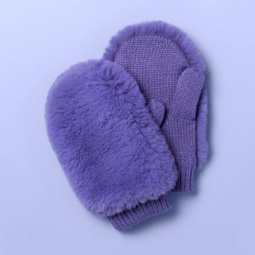 Girls' Faux Fur Mittens - More Than Magic Purple, Girl's