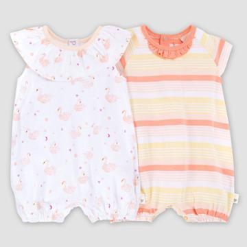 Burt's Bees Baby Baby Girls' Organic Cotton 2pk Graceful Swan Bubble Set - Pink Newborn, Girl's, Pink Beige