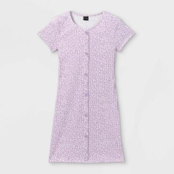 Girls' Button-front Short Sleeve Ribbed Dress - Art Class Violet