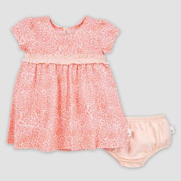 Burt's Bees Baby Baby Girls' Organic Cotton Secret Garden Dress And Diaper Cover Set - Pink