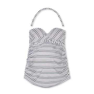 Maternity Striped Bandeau Twist Tankini Top - Isabel Maternity By Ingrid & Isabel