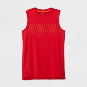 Boys' Sleeveless Geometric Stripe Graphic T-shirt - All In Motion Red